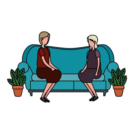 cute grandmothers in the sofa characters icon vector illustration design