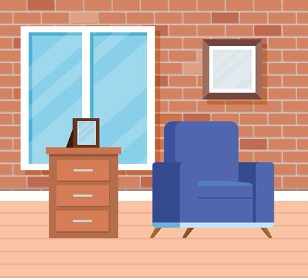 home livingroom with window and chair with pictures to interior decoration, vector illustration