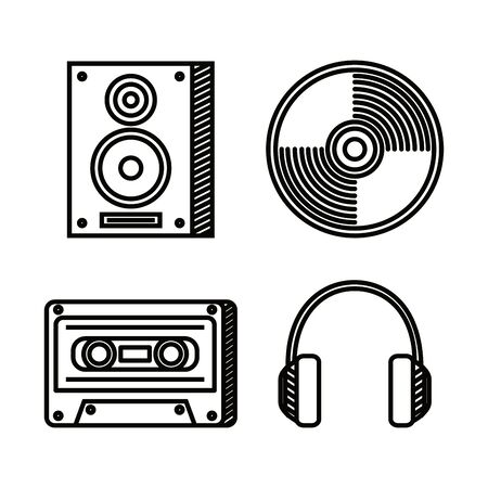 set of stereo with cd and cassette with headphones to music style vector illustration