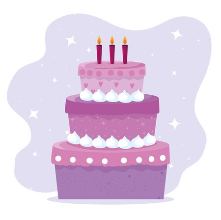 sweet cake with candles decoration design to happy birthday, vector illustration