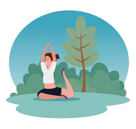 healthy woman training yoga pose with tree and bushes plant, vector illustration