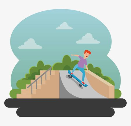 boy playing skateboard with ramps in the park and bushes plants vector illustration