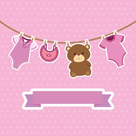 cute baby girl postcard set items hanging vector illustration design