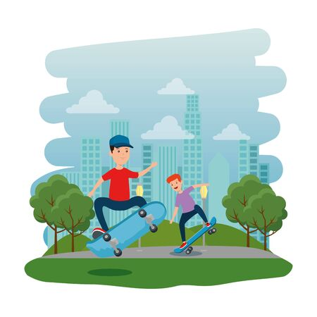 happy young boys in skateboard on the park with road vector illustration design