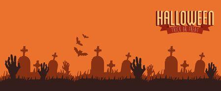 poster halloween with hands zombie in cemetery vector illustration design Ilustração