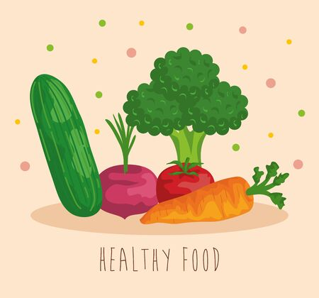 fresh cucumber with onion and broccoli with carrot and tomato to healthy food vector illustration Illusztráció