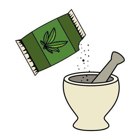 cannabis seeds bag with grinder vector illustration design