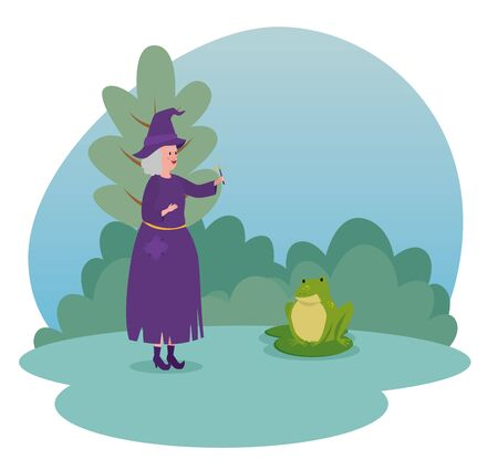 old woman witch with magic wand and frog to tale character, vector illustration