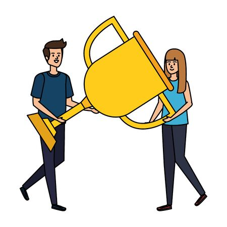 young couple lifting trophy cup award vector illustration design
