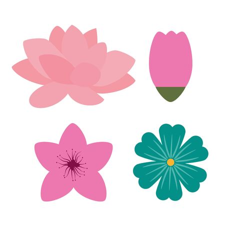 set of nature flowers plants style over white background, vector illustration