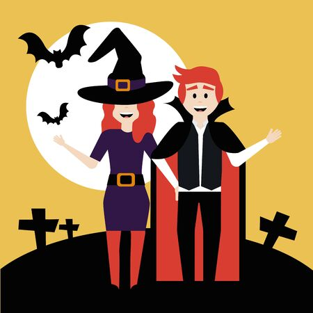 young couple disguised of witch and vampire vector illustration design