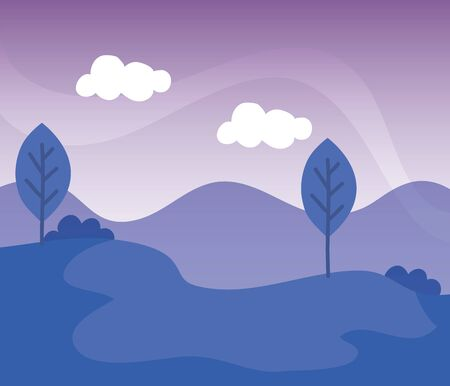 trees with bushes plants and biology mountains to nature landscape, vector illustration Illustration