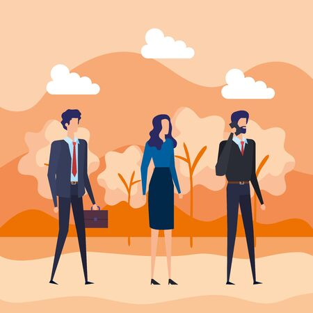 businessmen and businesswoman with elegant clothes and smartphone to office success, vector illustration