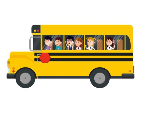 Schulbustransport mit Gruppe von Kindern Vektor-Illustration Design