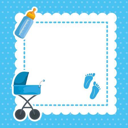 Postal con baby shower set iconos diseño ilustración vectorial