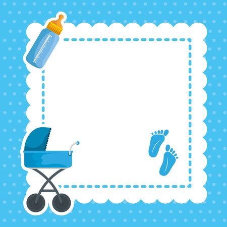postcard with baby shower set icons vector illustration design