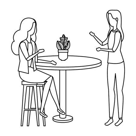 elegant businesswomen in table with houseplant vector illustration design