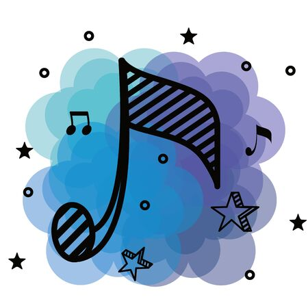 quaver musical notes rhythm with star to music style vector illustration Ilustrace