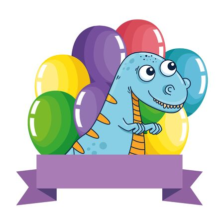 cute tyrannosaurus rex with balloons helium frame vector illustration design
