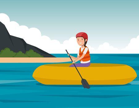 girl practice canoeing fitness activity to summer sport vector illustration