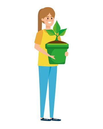 beautiful woman lifting houseplant in pot vector illustration design