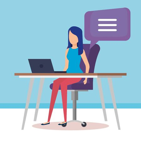 woman working in the office vector illustration design