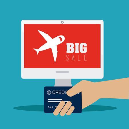 Shopping design over blue background, vector illustration. Illustration