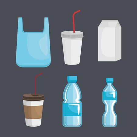 set of toxic bag with plastic cups and bottles with milk box vector illustration