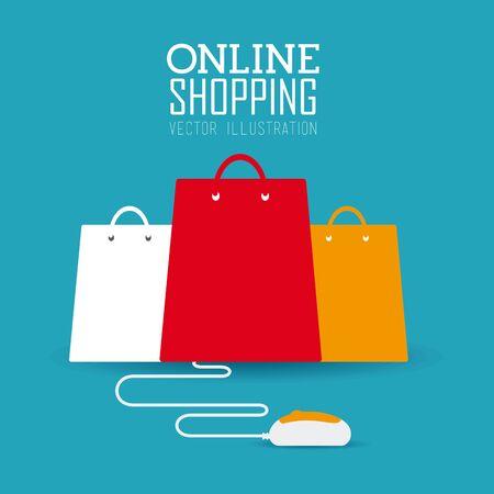 Shopping design over blue background, vector illustration. Ilustração