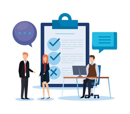 businesspeople with chat bubble and check list vector illustration
