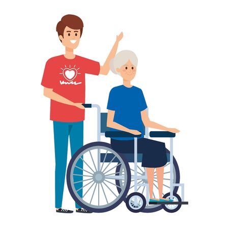 young man volunteer with old woman in wheelchair vector illustration design Stock Illustratie