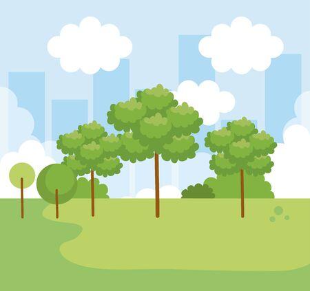 nature landscape with trees and bushes with clouds vector illustration Ilustração