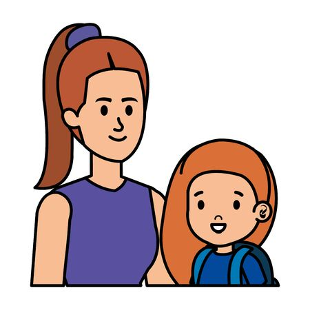 young mother with little daughter vector illustration design Standard-Bild - 134239842