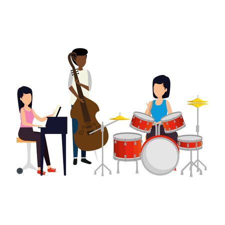 women playing musical instruments vector illustration design Illustration