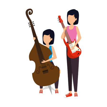 women playing cello and electric guitar characters vector illustration design