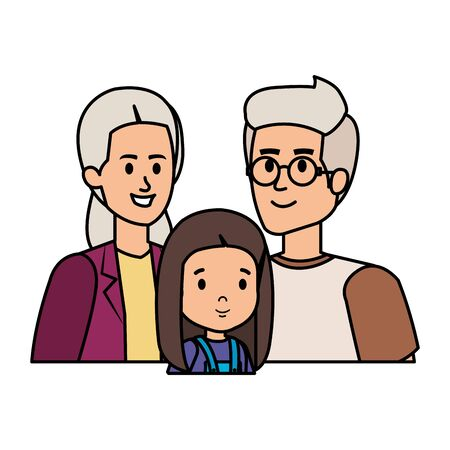 cute grand parents couple with grandaughter vector illustration design Illustration