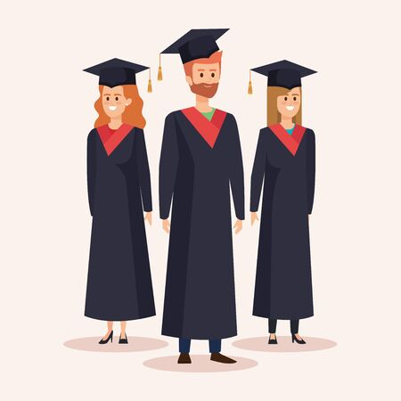 women and men univesity graduation with rope and cap vector illustration