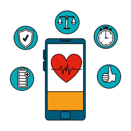 smartphone with heart cardio and health icons vector illustration design