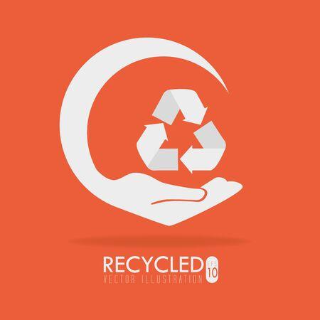 Ecology design over orange background, vector illustration.