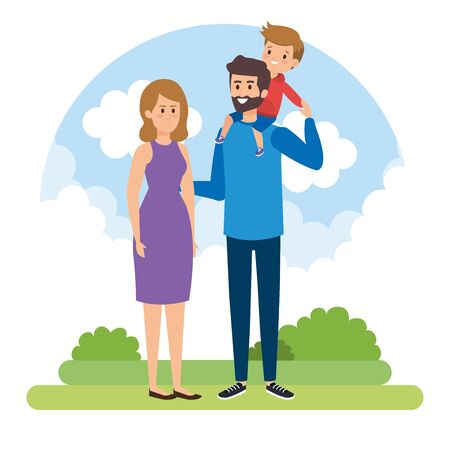 happy man and woman with their son and bushes vector illustration