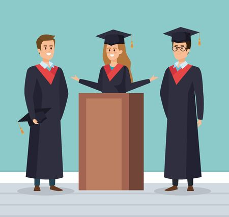woman and men wearing robe with cap to graduation vector illustration Imagens - 134325879