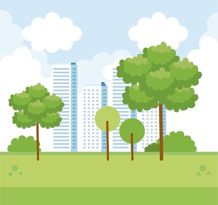 cityscape with building and trees with nature bushes vector illustration