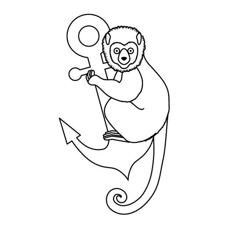 tropical capuchin monkey with anchor vector illustration design