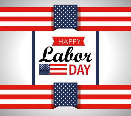 usa flag to labor day celebration vector illustration