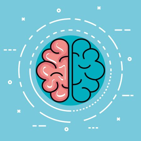 label with health brain and creative mind vector illustration