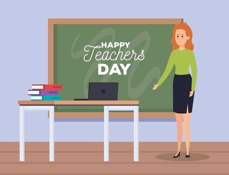 woman teacher and laptop with books and blackboard vector illustration Standard-Bild - 134288367