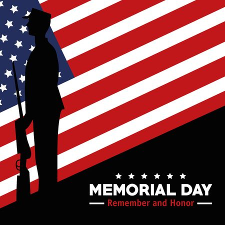 soldier with rifle and usa flag to memorial day vector illustration