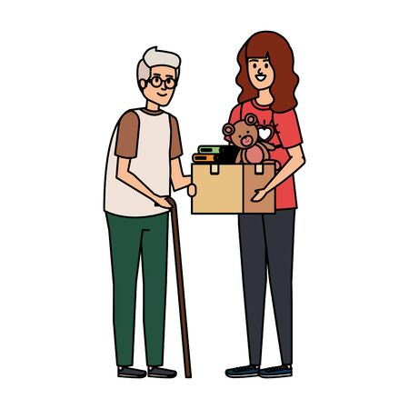 woman volunteer giving a old man donations box vector illustration design