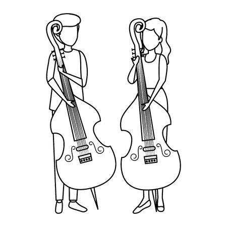 couple playing cello characters vector illustration design