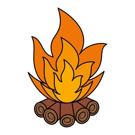 wooden campfire isolated icon vector illustration design Stock Illustratie